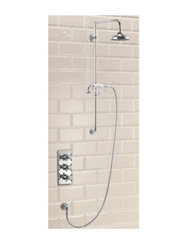 Clyde Concealed Thermostatic Shower Valve With Vertical Riser and Rose