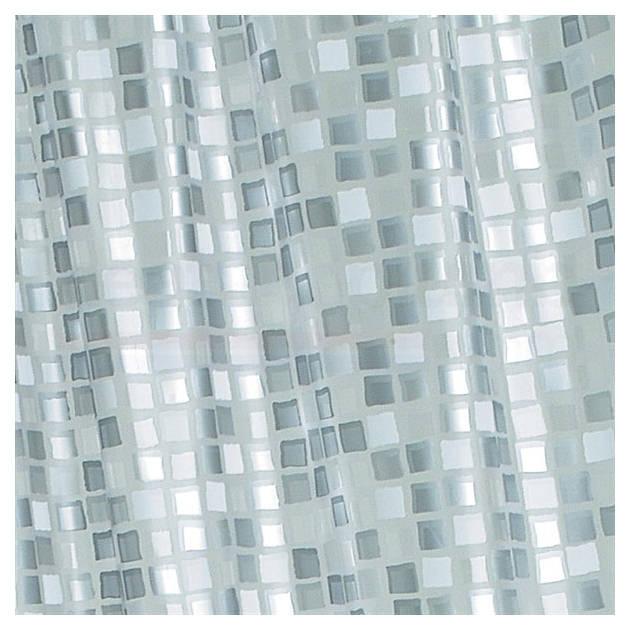 Croydex Patterned Vinyl Mosaic Silver PVC Shower Curtain