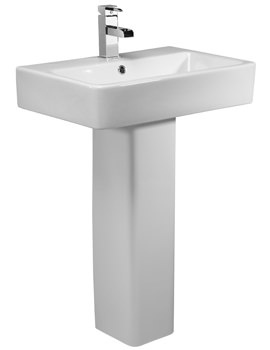 Tavistock Q60 575mm 1 Tap Hole Ceramic Basin With Pedestal
