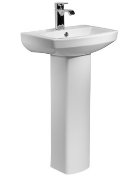 Tavistock Vibe 460mm 1 Tap Hole Ceramic Basin With Full Pedestal
