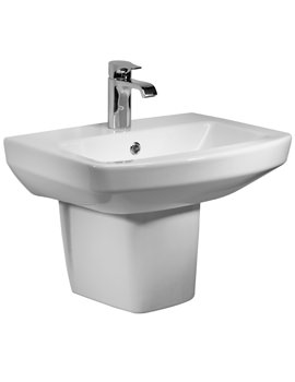 Tavistock Vibe 460mm 1 Tap Hole Ceramic Basin With Semi Pedestal