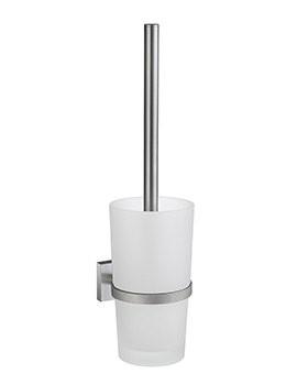 Smedbo House Brushed Chrome Toilet Brush With Frosted Glass Container