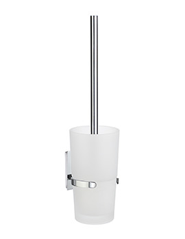 Smedbo Pool Polished Chrome Toilet Brush With Glass Container