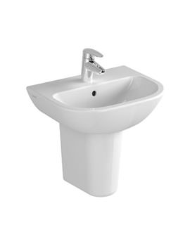 VitrA Layton 1TH 55cm Cloakroom Basin With Large Half Pedestal