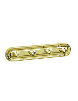 Smedbo Villa Polished Brass Quadruple Towel Hook