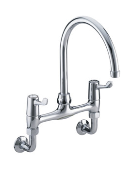 Bristan Lever Wall Mounted Bridge Sink Mixer Tap With 6 inch Lever
