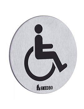Smedbo Xtra Brushed Stainless Steel WC Toilet Sign Invalid