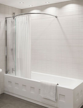 Kudos Inspire Over Bath Shower Panel 1556 x 350mm With Corner Rail
