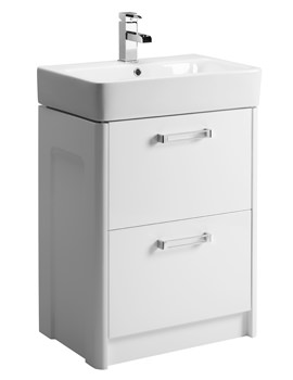 Tavistock Q60 575mm Double Drawer White Freestanding Unit With Ceramic Basin