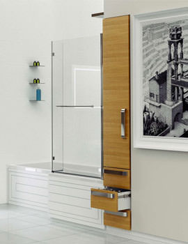 Kudos Inspire L Shaped Silver Frame Shower Bath Screen 1500 x 810mm