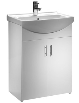 Tavistock Opal 600mm White Freestanding Unit With Basin