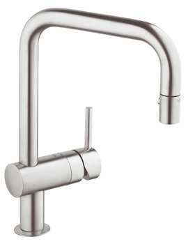Grohe Minta U Spout Tap With Extractable Pull Out Spray Supersteel