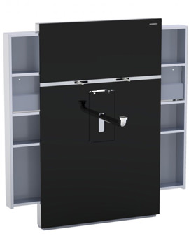 Geberit Black Monolith With Left And Right Drawer For Basin And Tap