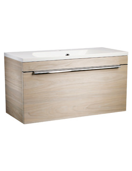 Roper Rhodes Cypher 800mm Light Elm Wall Hung Drawer Unit And Basin