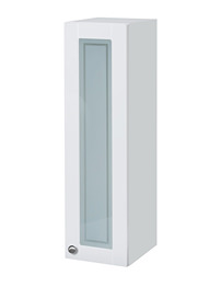 Balterley 300mm White Gloss Shaker Tall Glass Door Wall Cabinet