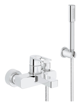 Grohe Quadra Wall Mounted Chrome Bath Shower Mixer Tap With Shower Set