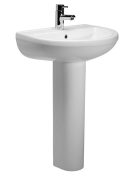 Roper Rhodes Minerva 540 x 440mm 1 Tap Hole Basin With Full Pedestal