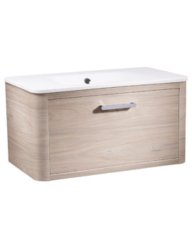 Roper Rhodes Moment 800mm Light Elm Wall Hung Drawer Unit And Basin