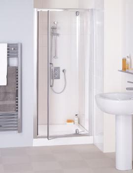 Lakes Classic Semi-Frameless Pivot Shower Door 750 x 1850mm Silver