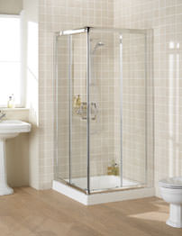 Lakes Classic Semi-Frameless Corner Entry Shower Enclosure 90cm Silver