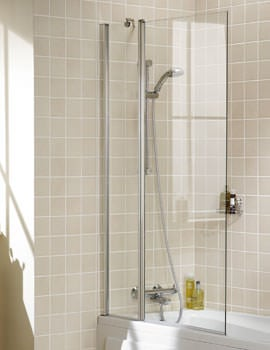 Lakes Classic Square Double Panel Bath Screen 944 x 1500mm Silver