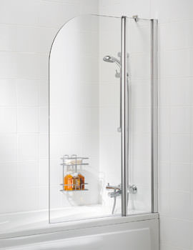 Lakes Classic Curved Bath Screen 975 x 1400mm Silver