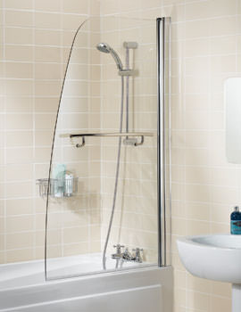 Lakes Classic Sculpted Bath Screen With Towel Rail 860mm Silver