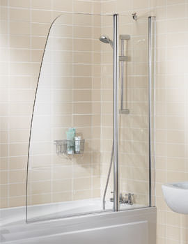 Lakes Classic Double Panel Sculpted Bath Screen 1175 x 1400mm Silver