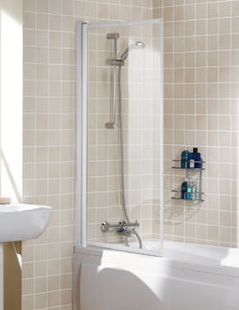 Lakes Classic Framed Single Panel Bath Screen 760mm White
