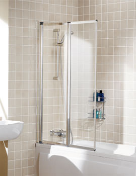 Lakes Classic Framed Double Panel Bath Screen 950mm Silver