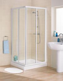 Lakes Classic Framed Corner Entry Slider Door 900mm White