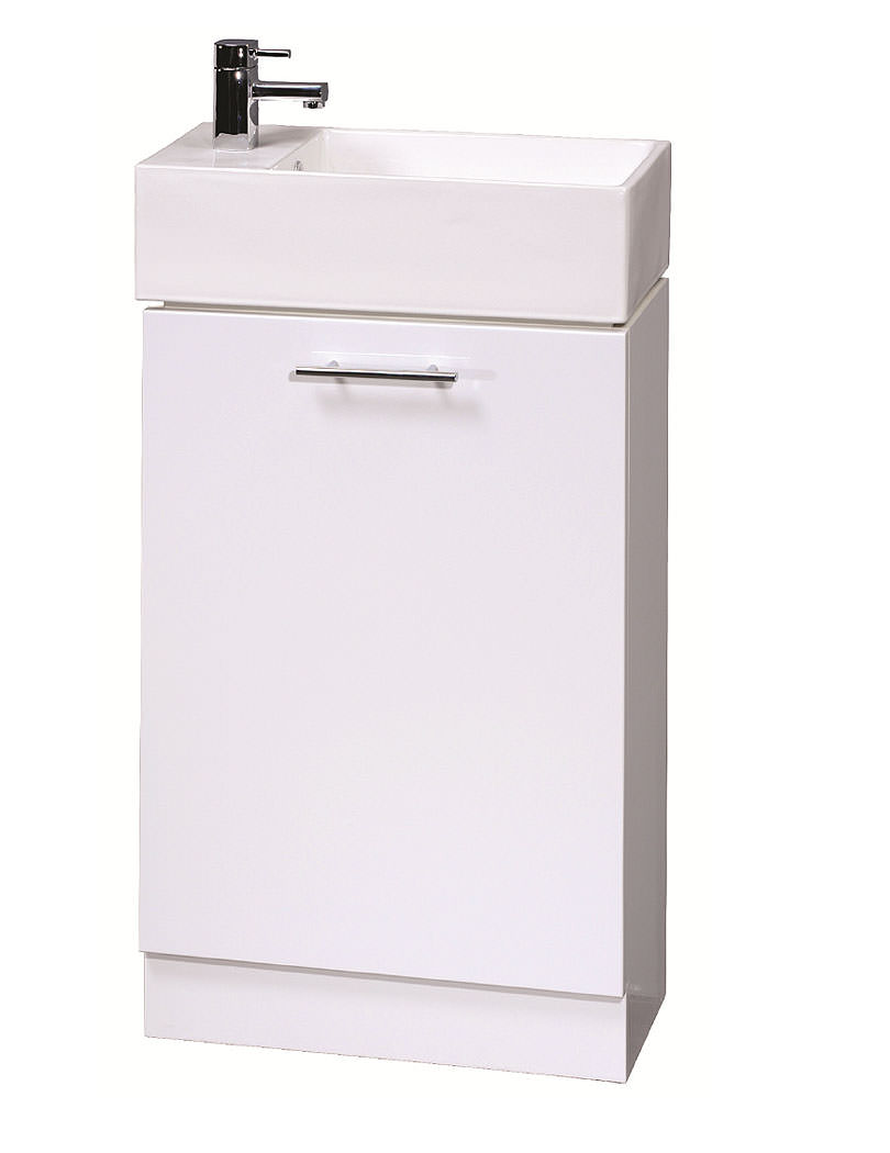 Lauren compact 500mm white finish cabinet and basin for Kitchen cabinets 500mm