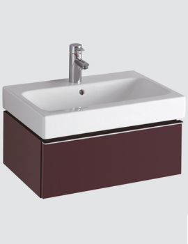 Twyford 3D 600mm Basin And Plum Finish Single Drawer Vanity Unit