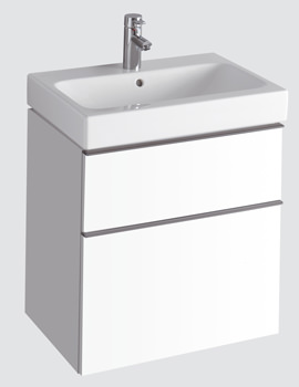 Twyford 3D 600mm Basin And Alpine White Double Drawer Vanity Unit