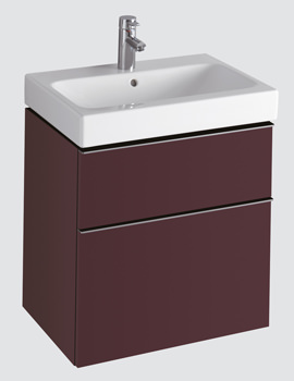Twyford 3D 600mm Basin And Plum Finish Double Drawer Vanity Unit
