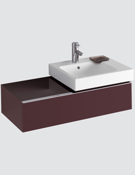 Twyford 3D 500mm Basin And 890mm Plum Finish 1 Drawer Vanity Unit