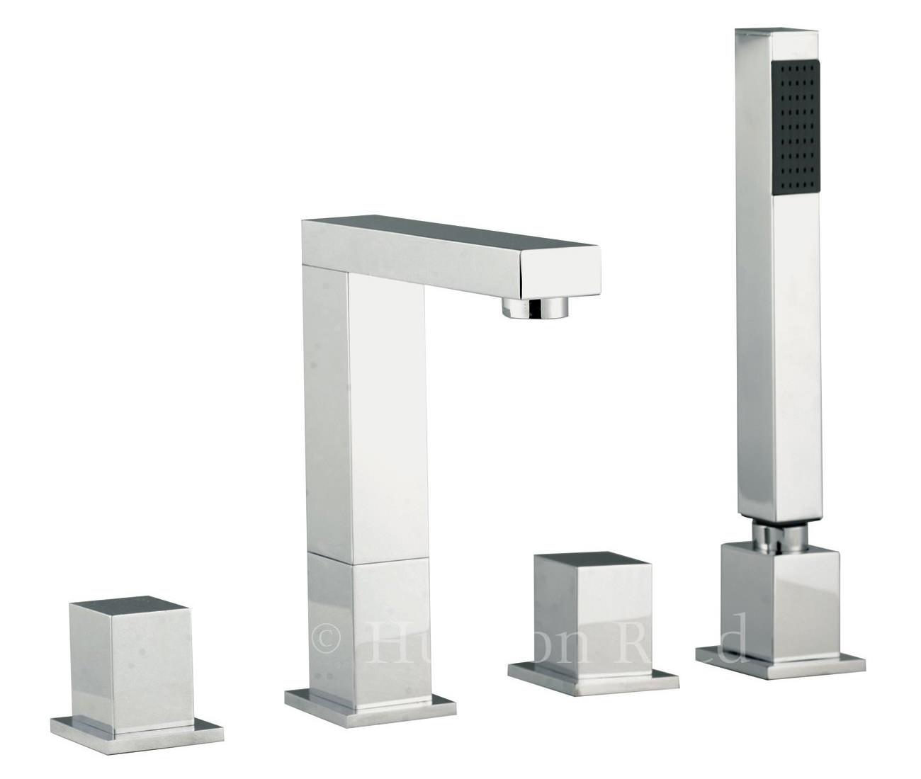 hudson reed kubix 4 tap hole bath mixer tap with shower kit. Black Bedroom Furniture Sets. Home Design Ideas