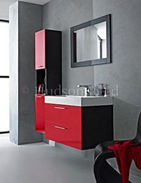 Hudson Reed Contrast Black And Red Finish Furniture Pack