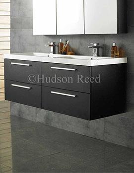Hudson Reed Quartet Black Wood Finish Wall Hung Vanity Unit And Basin