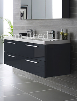 Hudson Reed Quartet Grey Wall Mounted Unit And Basin 1440mm