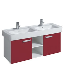 Twyford Galerie Plan Red Furniture Unit And 1300mm Double Basin