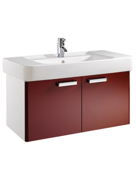 Twyford Galerie Plan Red Finish Underbasin Furniture Unit And 1000mm Basin