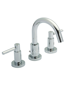 Hudson Reed Tec Lever 3 Tap Hole Basin Mixer Tap With swivel Spout