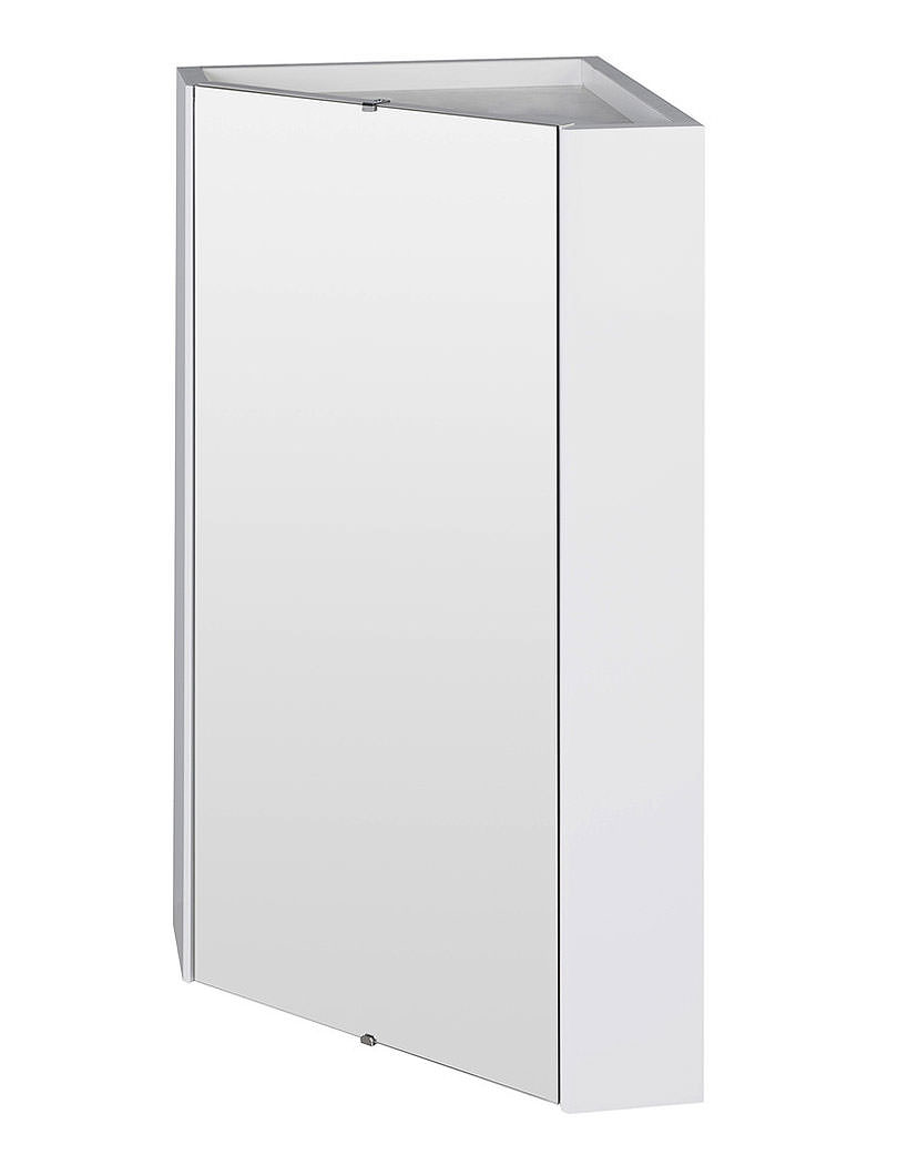 Lauren High Gloss White Wall Mounted Corner Mirror Cabinet