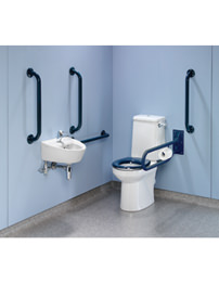 Twyford Doc.M Rimless Value Pack With Blue Grab Rails And Seat