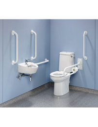 Twyford Doc.M Rimless Value Pack With White Grab Rails And Seat