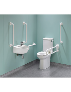 Twyford Doc.M Rimless Super CC WC Pack With White Grab Rails And Seat