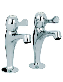 Mayfair Alpha Sink Pillar High Neck Taps Chrome