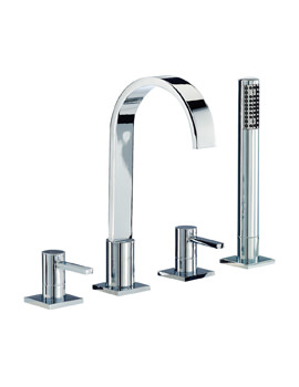 Mayfair Wave Lever 4 Hole Bath Shower Mixer Tap With Shower Handset
