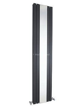 Hudson Reed Sloane 381x1800mm Double Panel Radiator With Mirror - Anthracite